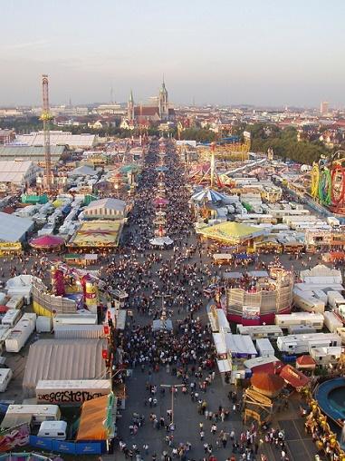 Fairground attractions at Oktoberfest Munich